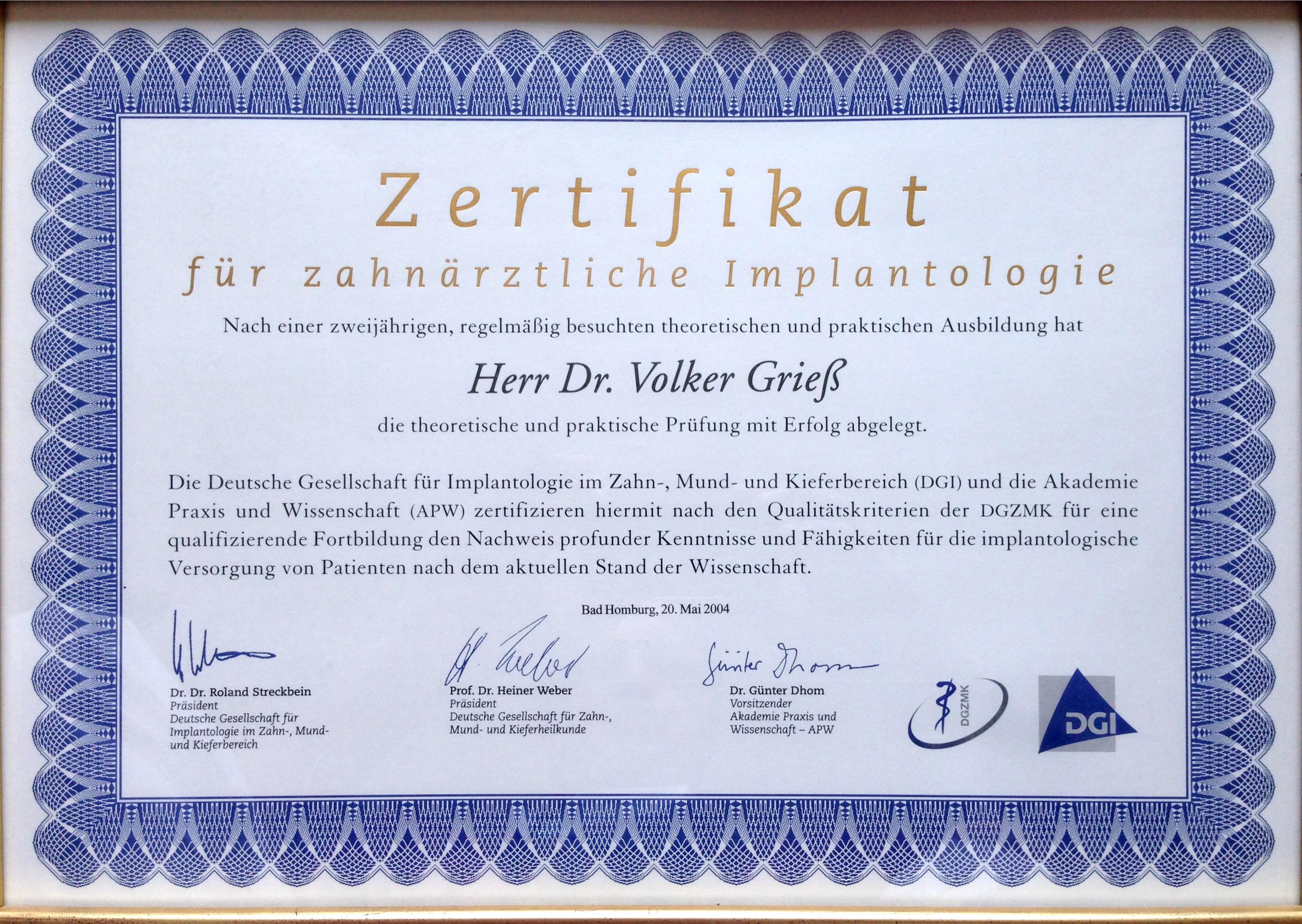 Zertifikat Implantologie